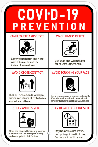 Covid 19 Prevention Sign By Michigan Custom Signs